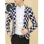 cheap Chic Slim Fit Notched Lapel Collar Checked Blazer For Men