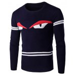 Eyes Pattern Striped Sleeve Round Neck Pullover Knitwear For Men