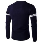 cheap Eyes Pattern Striped Sleeve Round Neck Pullover Knitwear For Men