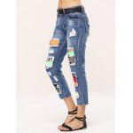 Stylish Colorful Icon Spliced Destroyed Jeans deal