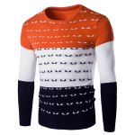 Color Spliced Round Neck Long Sleeve Pullover Knitwear For Men