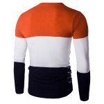 cheap Color Spliced Round Neck Long Sleeve Pullover Knitwear For Men