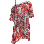 Bohemian Off The Shoulder Feather Print Half Sleeve Dress For Women