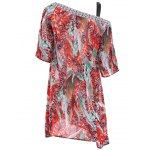 Bohemian Off The Shoulder Feather Print Half Sleeve Dress For Women for sale