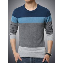 Round Neck Color Block Splicing Long Sleeve Sweater For Men