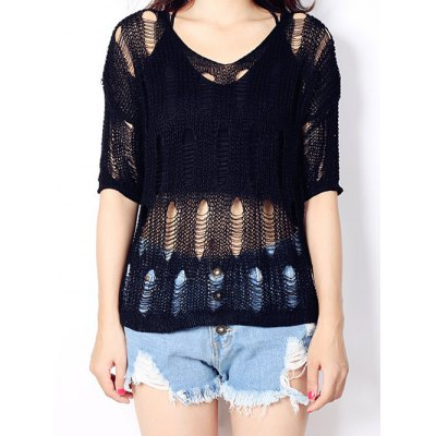Pure Color High Low Knitted Top