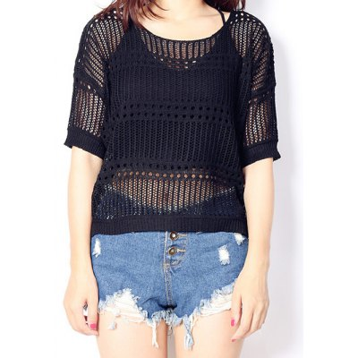High Low See-Through Knitted Top