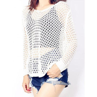 Loose-Fitting Pure Color Women's Knitted Top