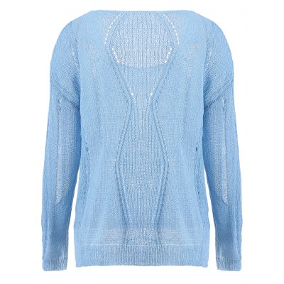 Crochet Long Sleeve Pure Color Sweater