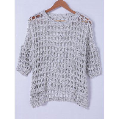 Round Neck Hollow Out Knitwear For Women