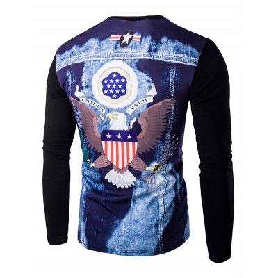Round Neck 3D Eagle Flag Printing Long Sleeves T-Shirt For Men