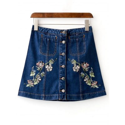 Floral Embroidered Buttoned Denim Skirt