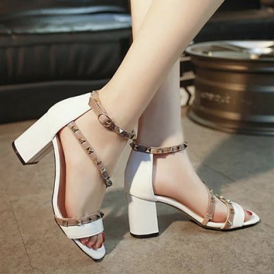 Stylish Rivets and Color Splicing Design Sandals For Women