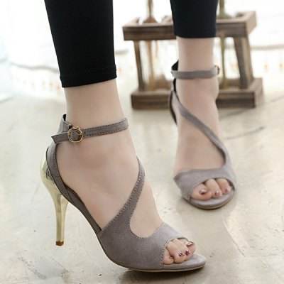 Elegant Metal and Ankle Strap Design Sandals For Women