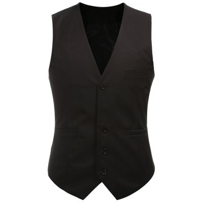 Buckle Back Solid Color Single Breasted Vest For Men