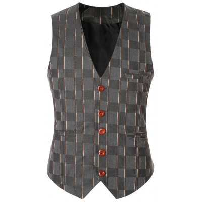 Striped Plaid Buckle Back Single Breasted Vest For Men