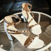 Stylish Rivets and Color Splicing Design Sandals For Women deal
