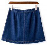 cheap Floral Embroidered Buttoned Denim Skirt