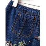 Floral Embroidered Buttoned Denim Skirt deal