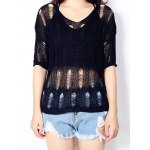 Women's Pure Color High Low Knitted Top