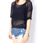 cheap High Low See-Through Knitted Top For Women