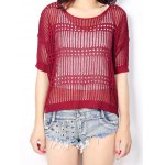 Buy High Low See-Through Knitted Top Women WINE RED