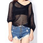 Women's Batwing Sleeve Hollow Out Knitted Top