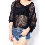cheap Women's Batwing Sleeve Hollow Out Knitted Top