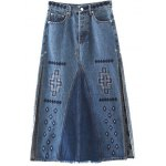 Fashion Embroidery Side Slit Denim A Line Skirt For Women