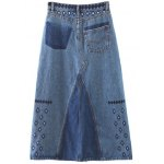cheap Fashion Embroidery Side Slit Denim A Line Skirt For Women