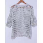 cheap Stylish Round Neck Hollow Out Knitwear For Women
