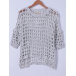 Stylish Round Neck Hollow Out Knitwear For Women