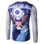 cheap Round Neck 3D Eagle Flag Printing Long Sleeves T-Shirt For Men