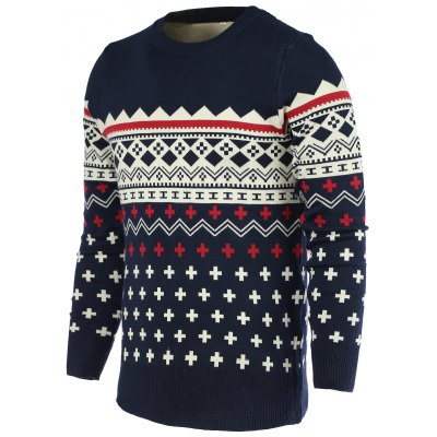 Round Neck Color Block Geometric Print Long Sleeve Sweater For Men