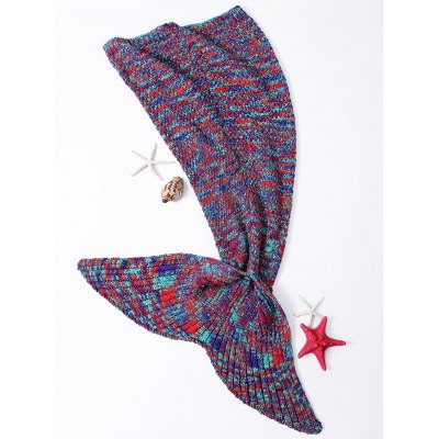Chic Quality Warmth Colorful Knitted Fish Tail Design Blanket