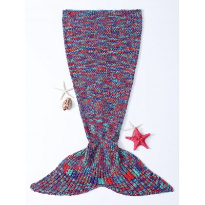 Warmth Colorful Knitted Fish Tail Design Blanket