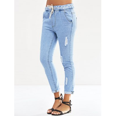 Women's Casual Elastic Waist Letter Print Ripped Jeans