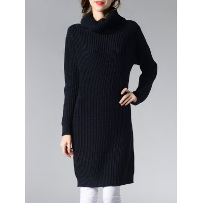 Turtle Neck Solid Color Long Sweater