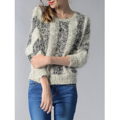 3/4 Sleeve Hit Color Fluff Women's Sweater