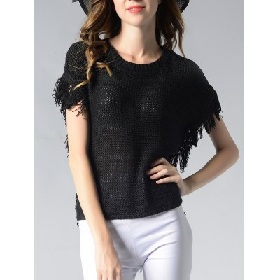 Round Neck Fringed Solid Color Women's Knitwear