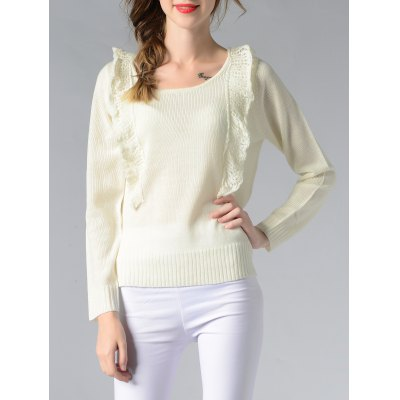 Scoop Neck Spliced Ribbed Solid Color Women's Sweater
