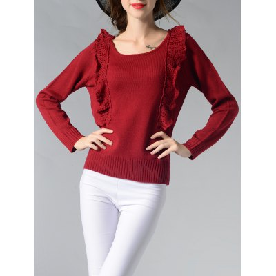 Chic Scoop Neck Spliced Ribbed Solid Color Women's Sweater