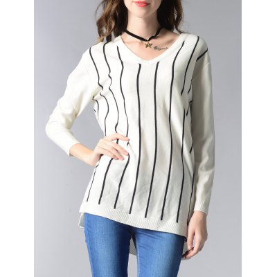 V-Neck Striped High Low Sweater