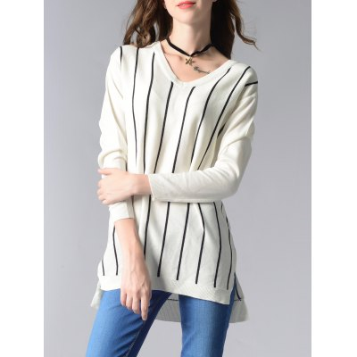 Long Sleeve V-Neck Striped High Low Sweater