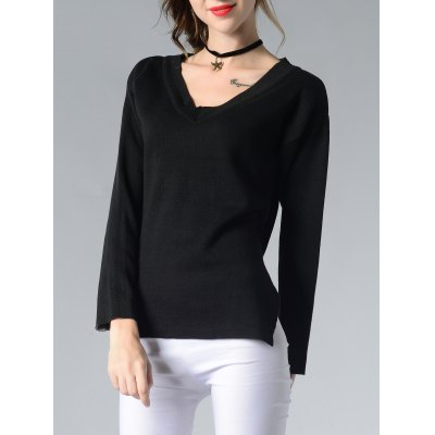 Chic V-Neck Asymmetrical Furcal Pure Color Women's Knitwear