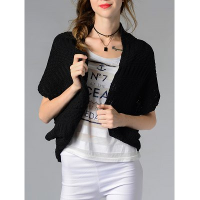 Collarless Button Design Solid Color Women's Cardigan