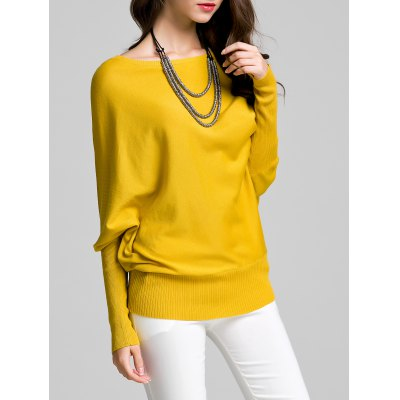 Bat Sleeve Solid Color Sweater