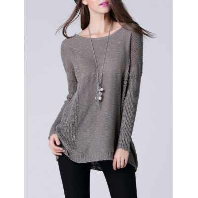 Scoop Neck Long Sleeve Thin Sweater