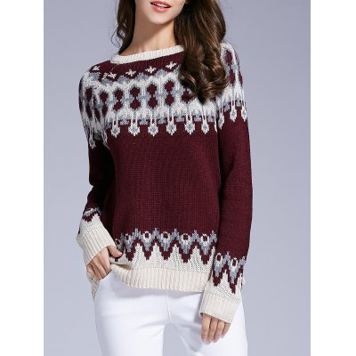 Long Sleeve Patterned Sweater