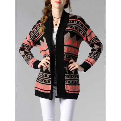 Collarless Tribal Jacquard Cardigan